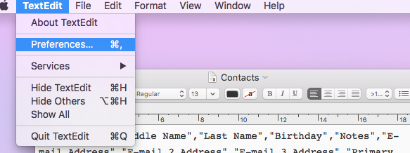 Preparing Your Contacts  CSV file for Import: Mac OS – sipgate team UK